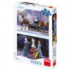 Dino puzzle Walt Disney Frozen: Vánoce 2x77 dílků