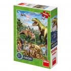 Dino puzzle Svět dinosaurů 100 dílků XL neon