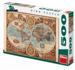 Dino puzzle Mapa světa z roku 1626 500 dílků