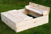 Dřevěné pískoviště s víkem a lavičkou 120x120 cm
