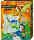Dřevěná skládačka s obtisky Dinosaura