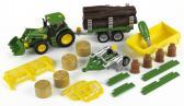 John Deere Traktor se sklápěčkou 3 přívěsy a pluhem