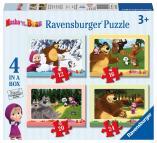Ravensburger Máša a Medvěd 4 v 1, 12 - 24 dílků