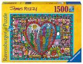 Ravensburger puzzle James Rizzi: Láska ve středu města 1500d