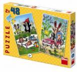 Dino puzzle Dino Krteček se raduje 2x48 dílků