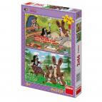 Dino puzzle Krtek a zajíci 2x66 dílků