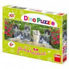 Dino puzzle Koťátka v zahradě 150 dílků panorama