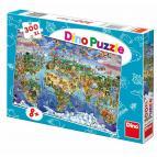 Dino puzzle Ilustovaná mapa světa 300 XL dílků