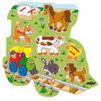 Woody Tvarové prošívací puzzle Mašinka