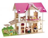 Dřevěná vila s nábytkem a panenkami