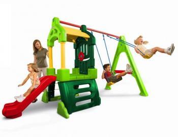Little Tikes Houpačkový set prolézačka Clubhouse Swing Set Natural
