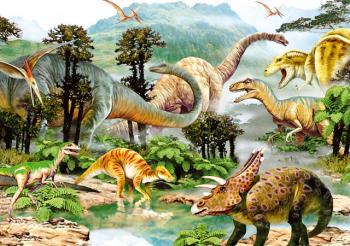 Dino puzzle Život dinosaurů 100 dílků XL