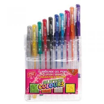 Pero gelové sada GLITTER 10 barev