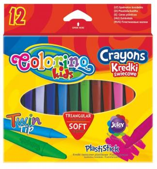 Colorino Trojhranné voskovky 12 barev Plastistick