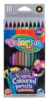 Colorino Metalické pastelky 10 ks, kulaté
