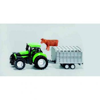 SIKU Blister Traktor s přívěsem na přepravu zvířat