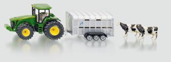 SIKU Super - Traktor John Deere s přívěsem pro přepravu dobytka vč. 2 krav