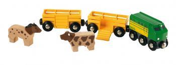 Zemědělský vlak pro přepravu zvířat se 2 vagónky, krávou, koněm