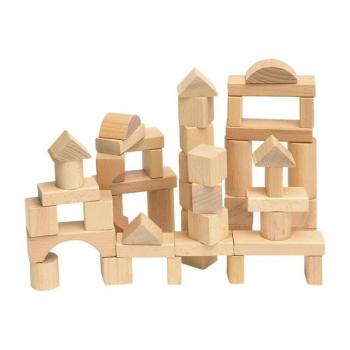 Woody Stavebnice kostky přírodní v kartonu, 50 dílů