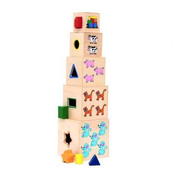 Woody Věž z 5ti kostek Mašinka