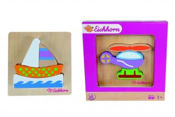 Eichhorn Dřevěné puzzle dopravní prostředek, 5 dílků