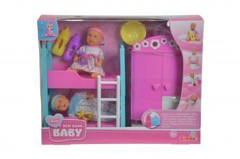 New Born Baby Dětský pokoj + 2 panenky (pije + čůrá) 12 cm