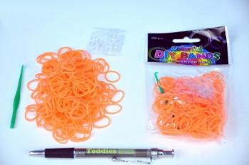 Udělej si svůj náramek - gumičky 250ks oranžové s doplňky v sáčku