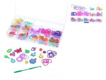 Udělej si svůj náramek - gumičky 90ks + ozdobné korálky 122ks v krabičce