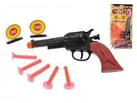 Pistole plast kovbojská s přísavkami s terči 21cm na kartě