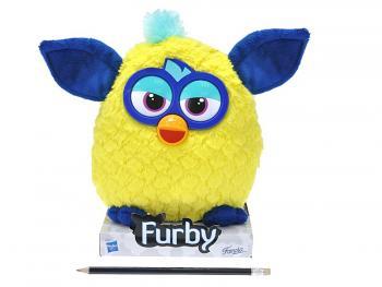 Furby plyš žluto-modrý 20cm na podstavci