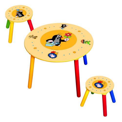 Dětský stolek, 2 židle, krteček