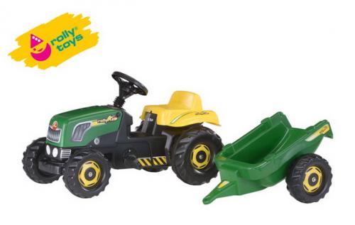 Šlapací traktor Rolly Kid s vlečkou - zelený