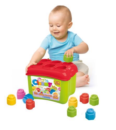 Clemmy baby - Prostrkovací kyblík s 18 kostkama