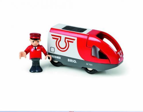 Elektrická lokomotiva červeno-bílá, baterie AA není součástí