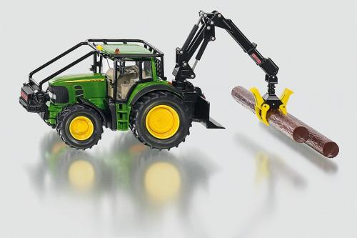SIKU Farmer Lesnický traktor John Deeres nakládací lžící a kládami 1:32
