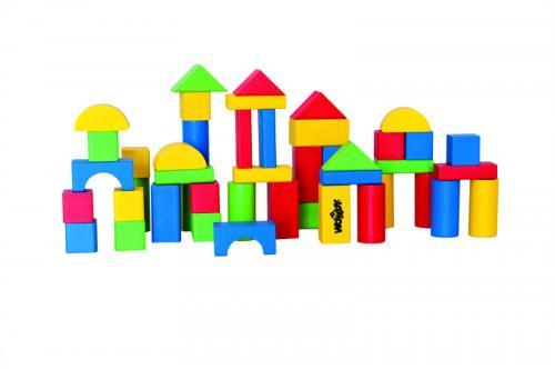 Woody Stavebnice kostky v kyblíku s prostrkávacím víkem, barevné, 45 dílů