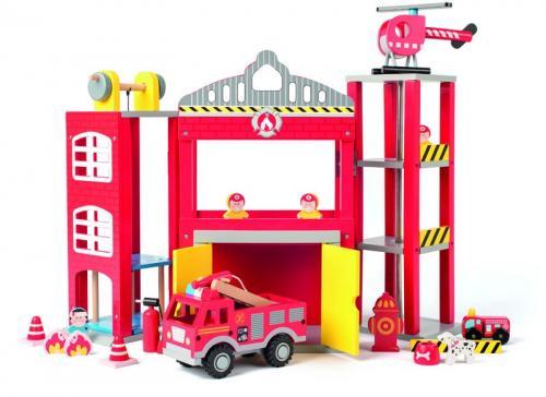 Velká hasičská stanice s autíčky