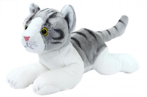 Plyšová kočka šedo-bílá, ležící 30 cm