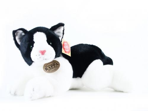 Plyšová kočka černo-bílá, ležící, 28
