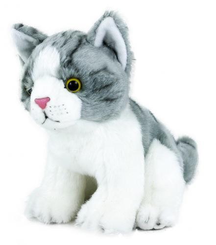Plyšová kočka šedo-bílá, sedící, 18