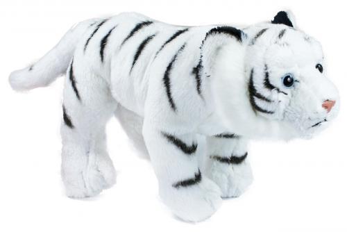 Plyšový tygr bílý stojící, 22 cm