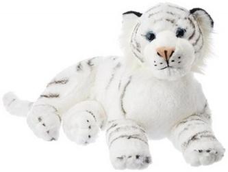 Plyšový tygr bílý, ležící, 40 cm