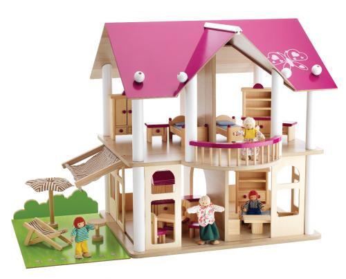Dřevěná vila s nábytkem a figurkami