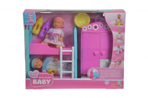 MNB Dětský pokoj + 2 panenky (pije + čůrá) 12 cm