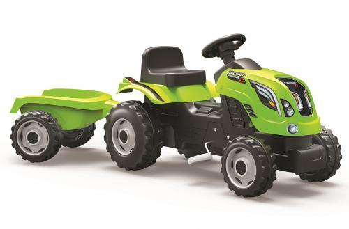 Šlapací traktor Farmer XL zelený s vozíkem