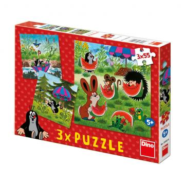 Dino Puzzle Krtek a paraplíčko  3x55D