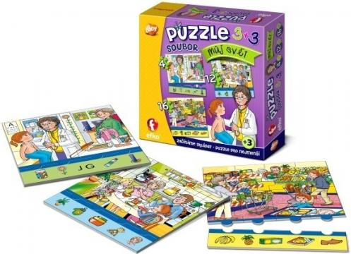 """Efko Soubor puzzle 3v1 """"Můj svět"""""""