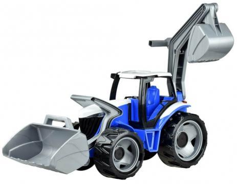 Traktor se lžící a bagrem, modro šedý