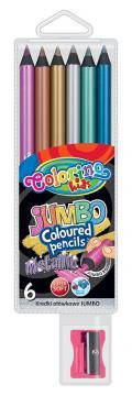 Colorino Metalické pastelky 6 ks, kulaté