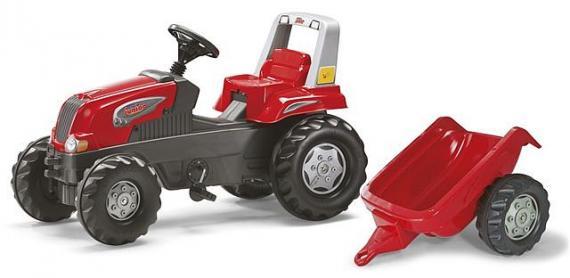 Šlapací traktor Rolly Juniors vlečkou červený